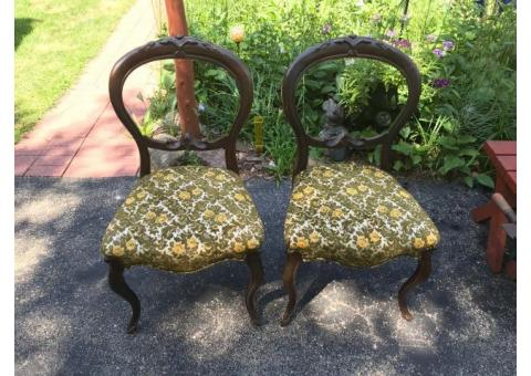 Antique Open Balloon Back Carved Chairs